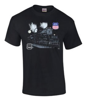 Union Pacific Challenger 3985 at Night Railroad T-Shirt [3985]