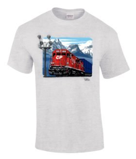 Canadian Pacific Stack Train At Morants Curve Authentic Railroad T-Shirt