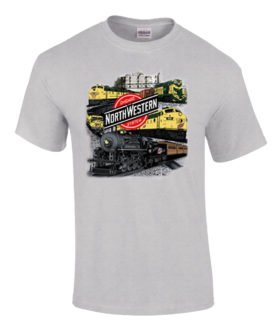 Chicago and Northwestern Collage Authentic Railroad T-Shirt Tee Shirt