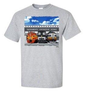 Sacramento Locomotive Works Authentic Railroad T-Shirt Tee Shirt