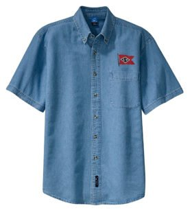 Lehigh Valley Railroad Black Diamond Logo Short Sleeve Embroidered Denim [den104SS]