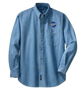 Williamette Logging Locomotives Long Sleeve Embroidered Denim [den109LS]