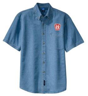 Long Island Railroad Keystone Logo Short Sleeve Embroidered Denim [den10SS]