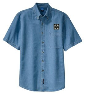 AT&SF Santa Fe Black Cross Short Sleeve Embroidered Denim [den120SS]