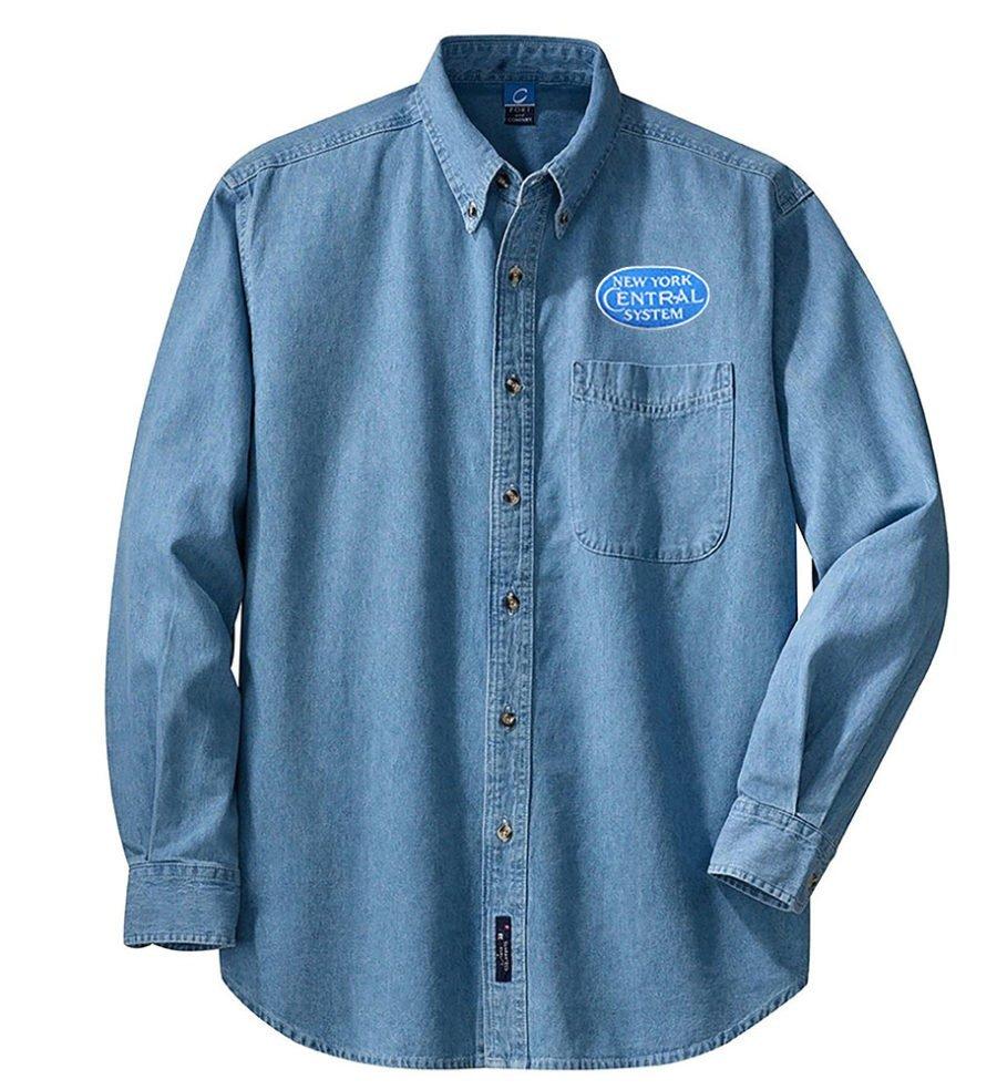New York Central Blue Logo Long Sleeve Embroidered Denim [den29BlueLS]