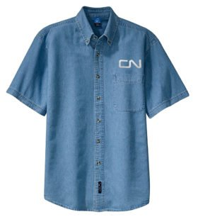 Canadian National Noodle Logo Short Sleeve Embroidered Denim [den45SS]