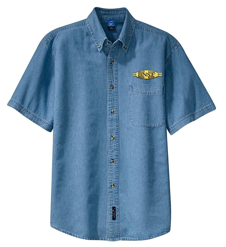 BNSF Cigar Band Logo Short Sleeve Embroidered Denim [den61SS]