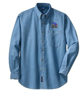 NYC Empire State Express Long Sleeve Embroidered Denim [den66LS]
