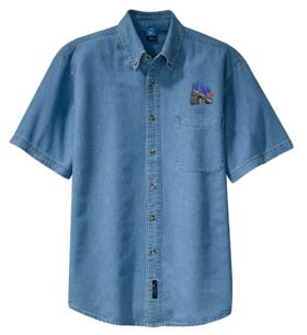NYC Empire State Express Short Sleeve Embroidered Denim [den66SS]