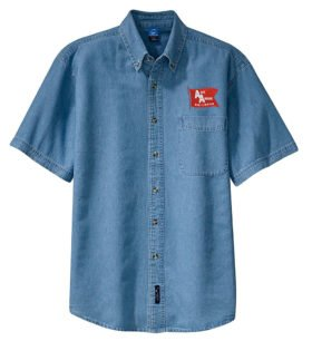 Ann Arbor Railroad Short Sleeve Embroidered Denim [den77SS]
